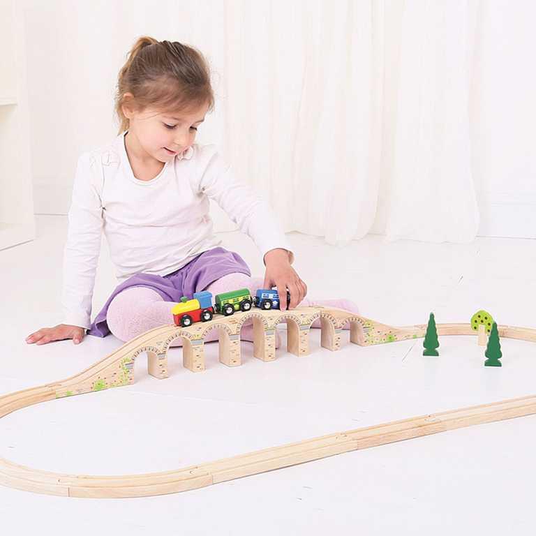 Dřevěné vláčkodráhy Bigjigs - Dlouhý železniční most