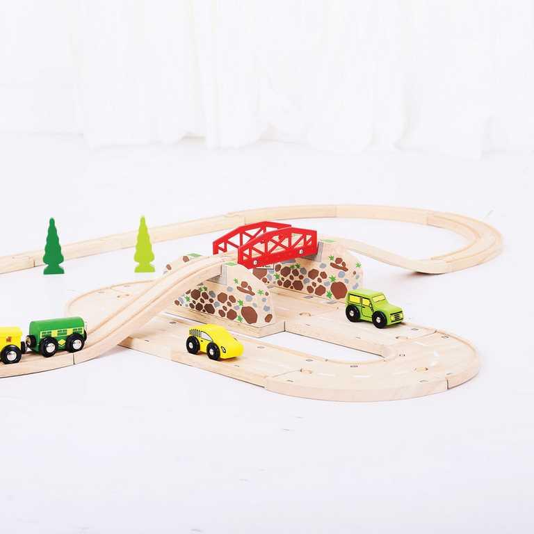 Bigjigs Rail dřevěné autodráhy - Most vláčkodráhy nad cestou