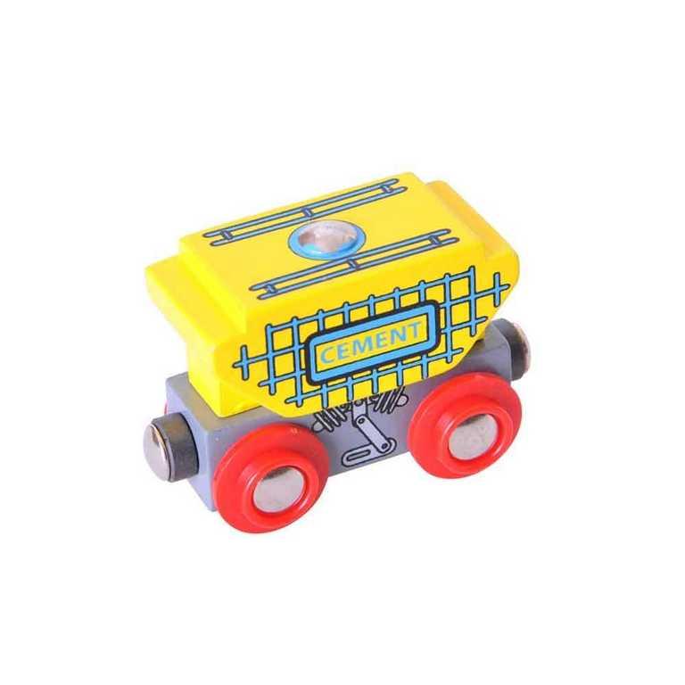 Vláček dřevěné Bigjigs - Vagon s cementem + 2 koleje