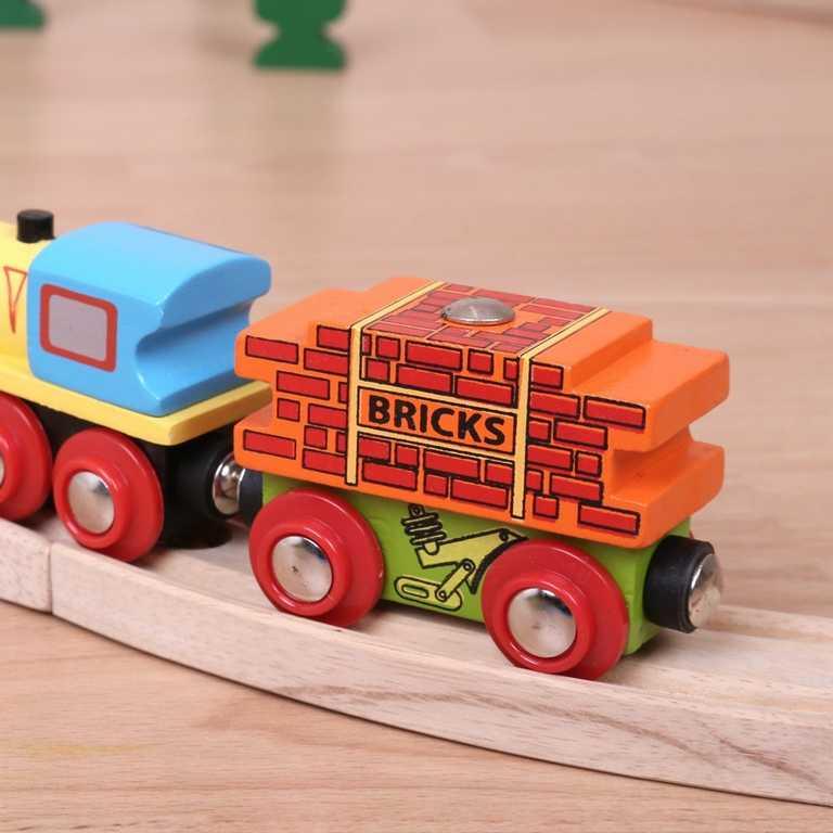 Vláček Bigjigs - Vagon s cihlami + 2 koleje
