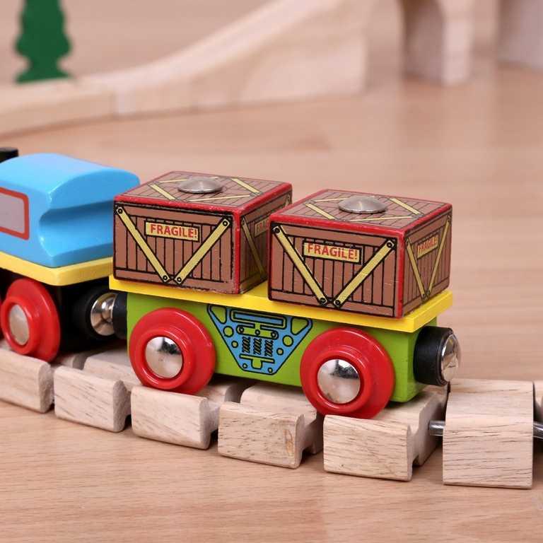 Vláček Bigjigs - Vagónek s krabicemi + 2 koleje