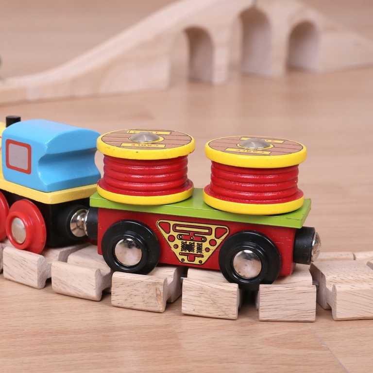 Dřevěný vagónek Bigjigs - Vagónek s kabely + 2 koleje