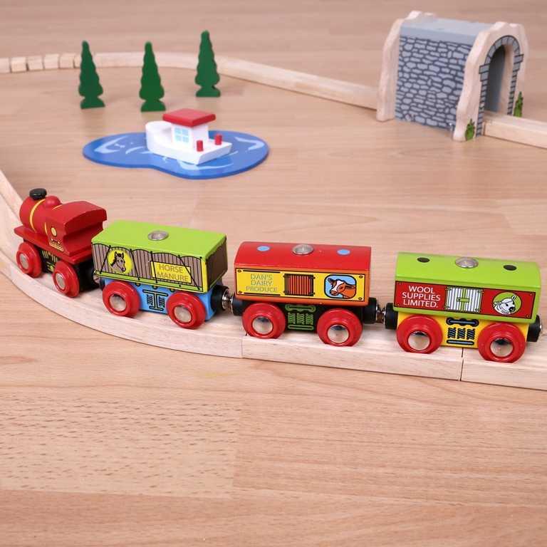 Dřevěná vláčkodráha Bigjigs - Farmářská vlak + 2 koleje