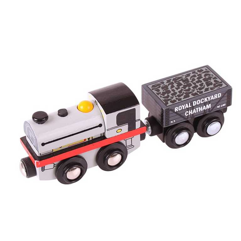 Bigjigs Rail Dřevěná replika lokomotivy Peckett + 2 koleje