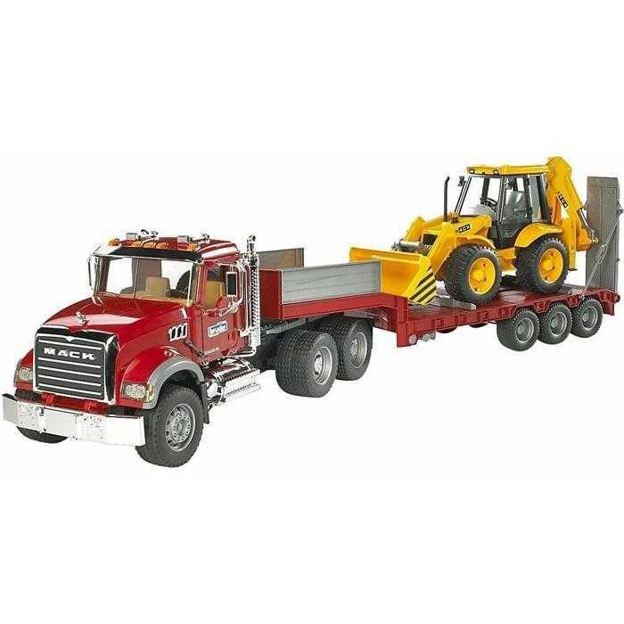 Bruder Nákladní auto  MACK Granit návěs + traktor JCB