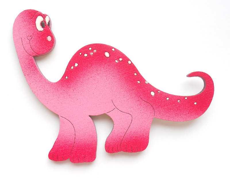 Dřevěné dekorace - dřevěné magnetky - Brontosaurus růžový