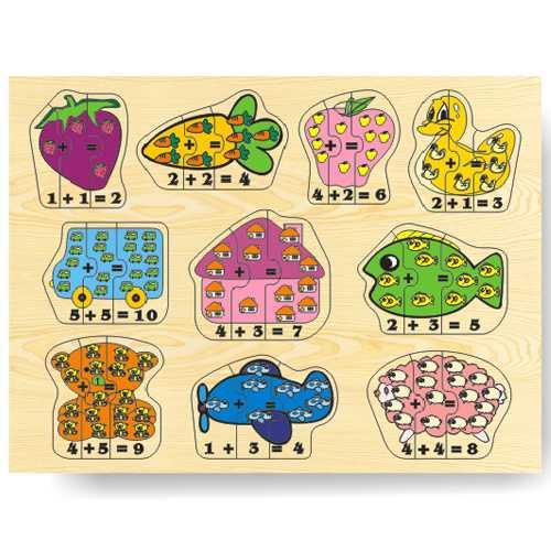 Dřevěné vkládací puzzle matematika počítání do 10