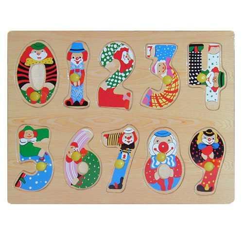 Dřevěná vkládačka číslice s klauny