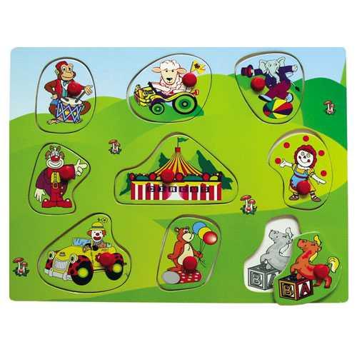 Dřevěné vkládací puzzle cirkus
