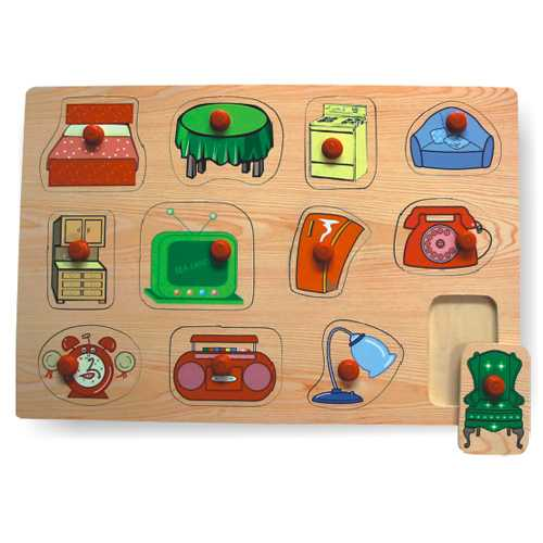 Dřevěné vkládací puzzle domácnost