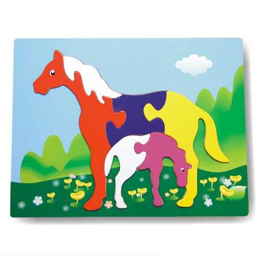 Dřevěné vkládací puzzle koně