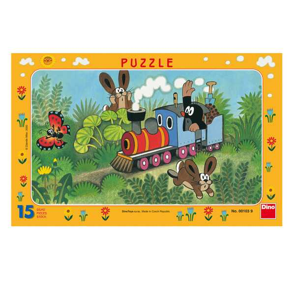 Dino Papírové puzzle Krtek a lokomotiva15 dílků