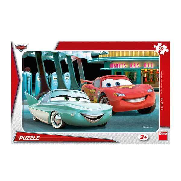 Papírové puzzle 15 dílků CARS u pumpy