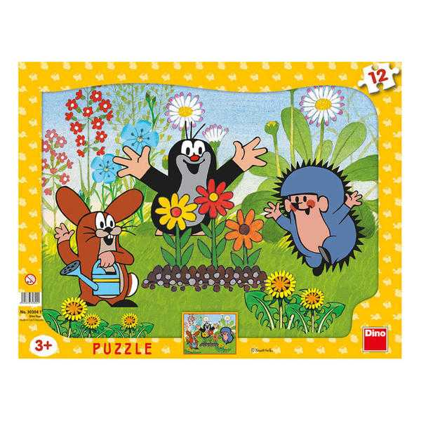 Papírové puzzle 12 dílků Krteček zahradník