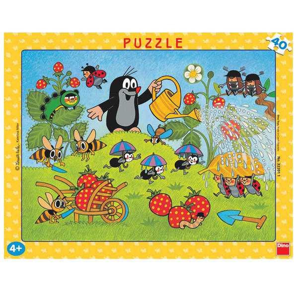 Dino Papírové puzzle  Krtek v jahodách 40 dílků
