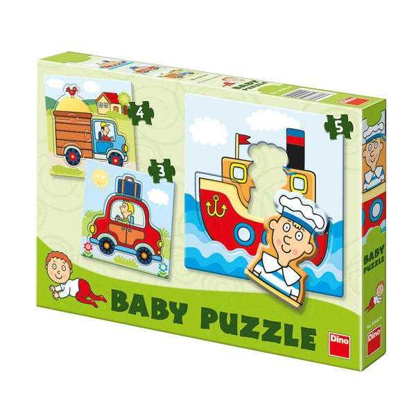 Dino Papírové puzzle dopravní prostředky 2-5 dílků