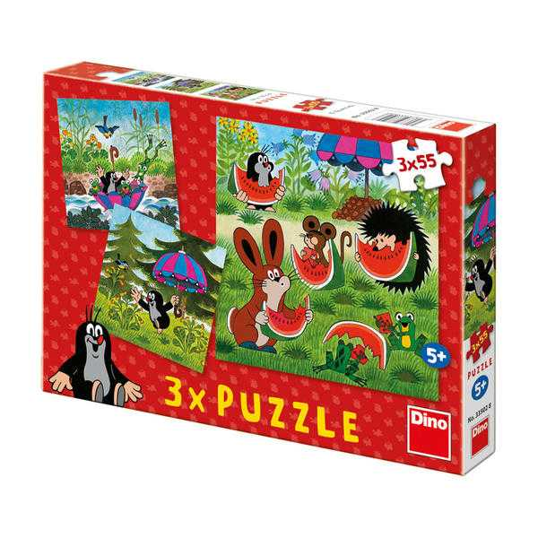 Papírové puzzle 3x55 dílků Krteček a paraplíčko
