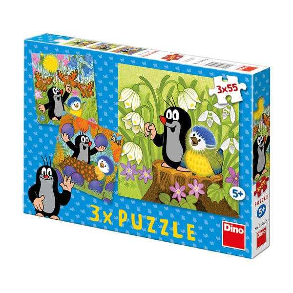 Papírové puzzle 3x55 dílků Krteček a ptáček