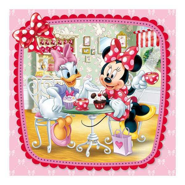 Papírové puzzle 3x55 dílků Minnie na návštěvě