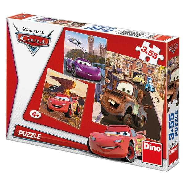 Papírové puzzle 3x55 dílků CARS v akci