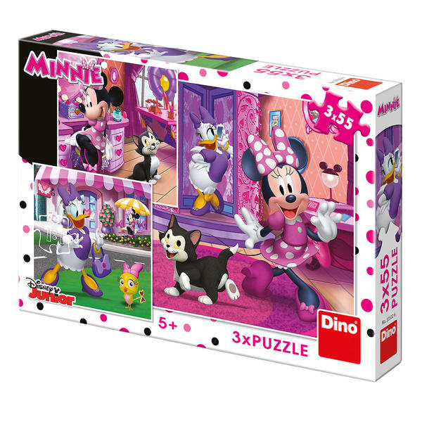 Dino Puzzle Den s Minnie 3x55 dílků