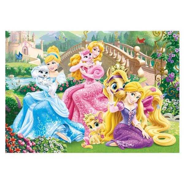 Papírové puzzle 100 XL dílků Princezny s mazlíčky v parku