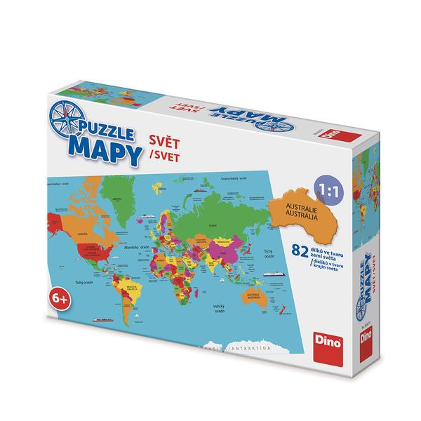 Dino Puzzle Mapy Svět 82 dílků