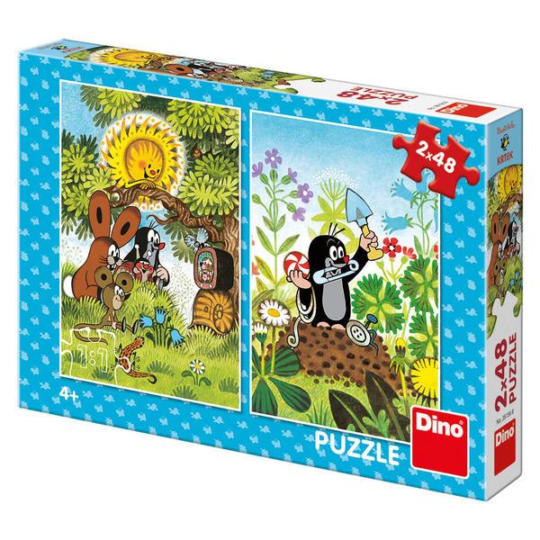 Dino Puzzle Krtek s přáteli u stromu a na krtině 2x48 dílků