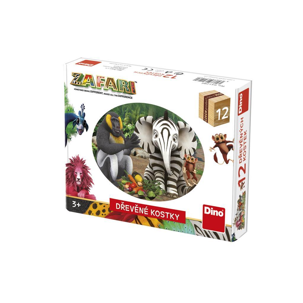 Dino Dřevěné kostky Zafari 12 ks