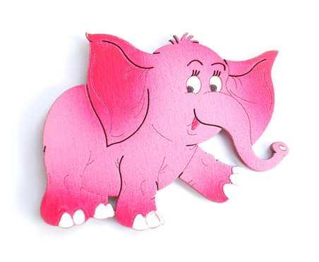 Dřevěné dekorace - dřevěné magnetky - magnetka Slon růžový