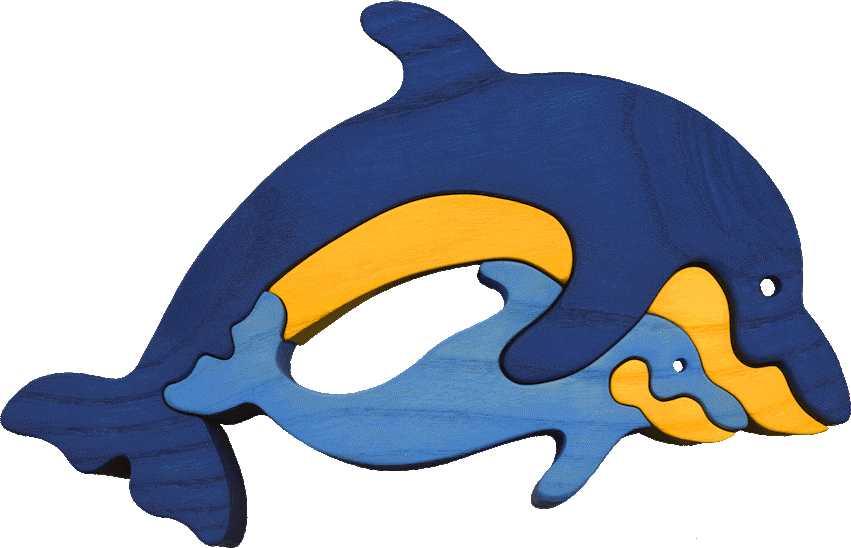 Dřevěné vkládací puzzle z masivu - vkládačka Delfínci