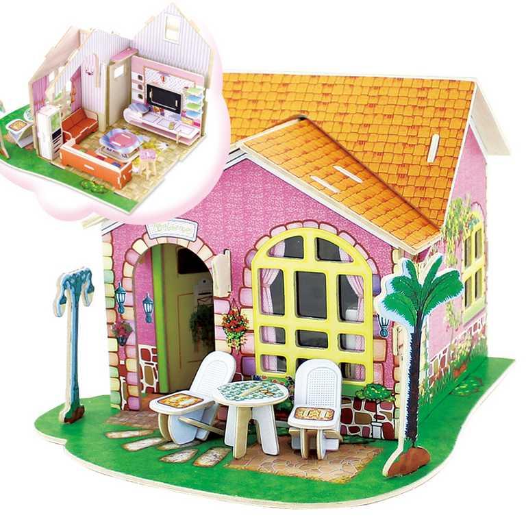 Dřevěná skládačka Vila snů - obývací pokoj