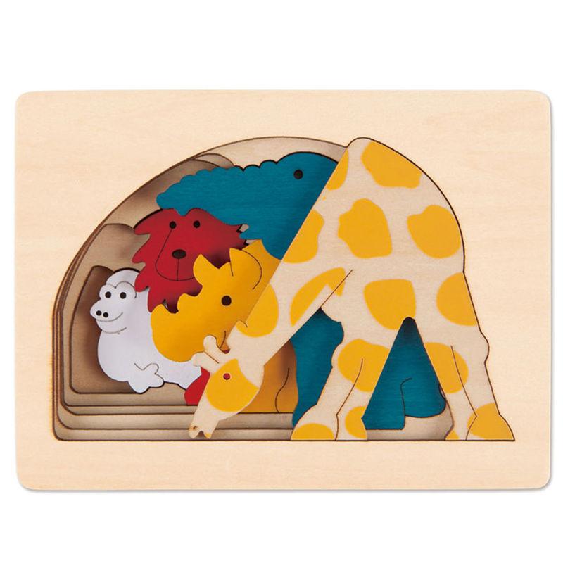 HAPE dřevěná vkládačka - Zvířata ze Zoo