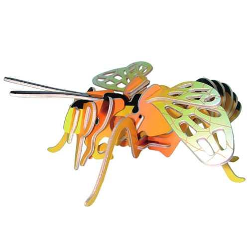 Dřevěné 3D puzzle dřevěná skládačka hmyz - malá Včela EC018