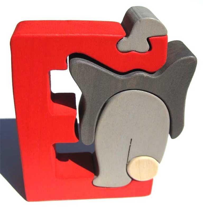 Dřevěné vkládací puzzle z masivu - Abeceda písmenko E slon