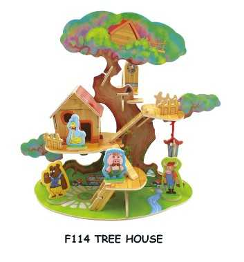 Dřevěné skládačky 3D puzzle - Domeček na stromě se zvířátky
