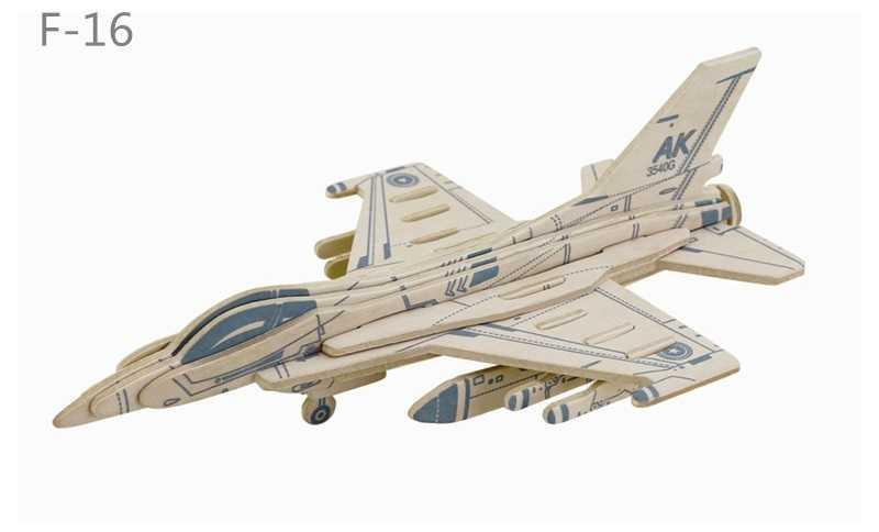 RoboTime Dřevěná skládačka americká stíhačka F16