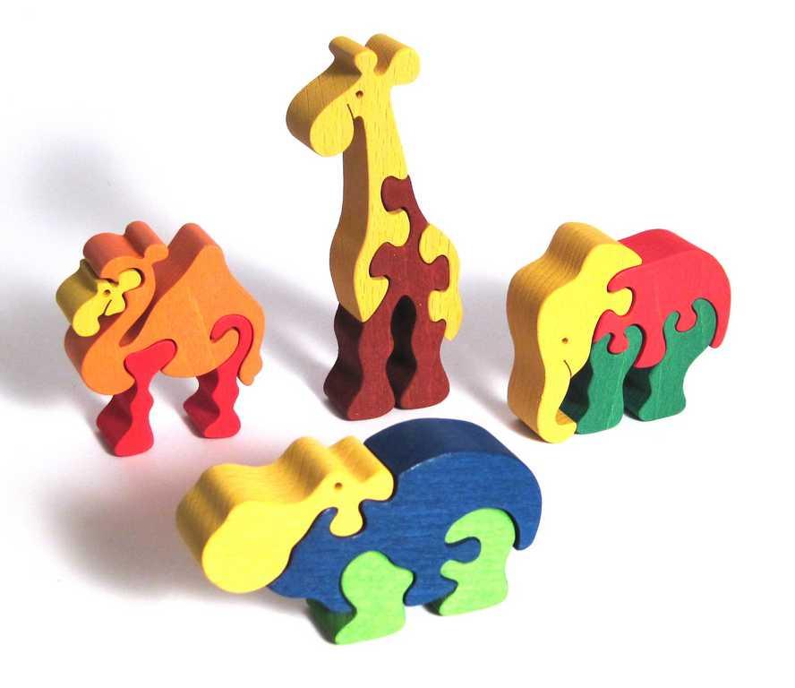 Fauna Dřevěné vkládací puzzle z masivu sada zoo 4 ks