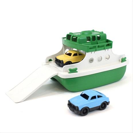 Green Toys Trajekt s auty zeleno - bílý