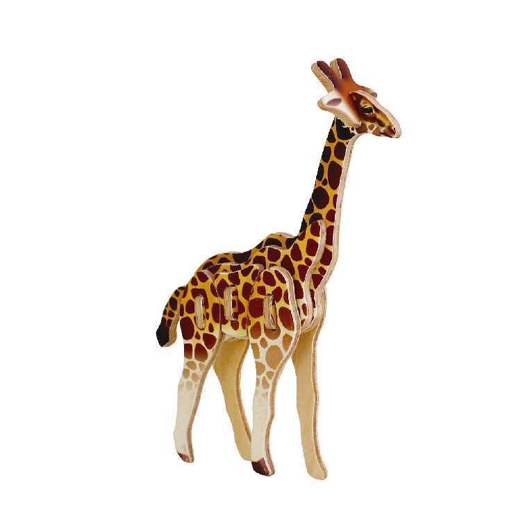 Dřevěné skládačky - sřední 3D puzzle - Žirafa