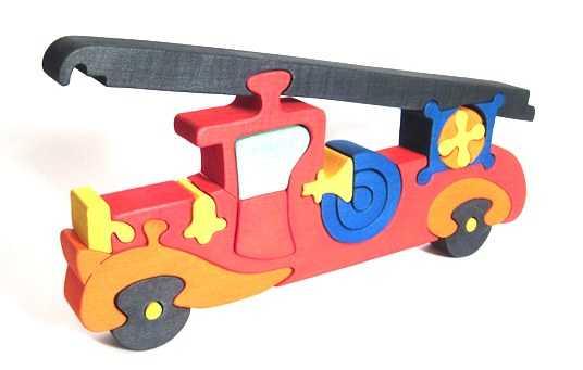 Fauna Dřevěné vkládací puzzle z masivu hasičské auto