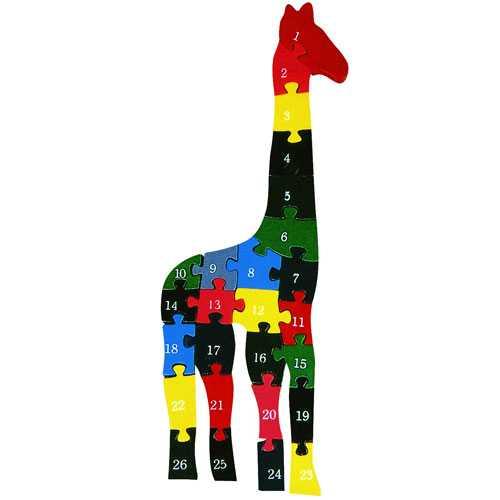 HJ Toys Vkládací puzzle z masivu žirafa s čísly a písmeny