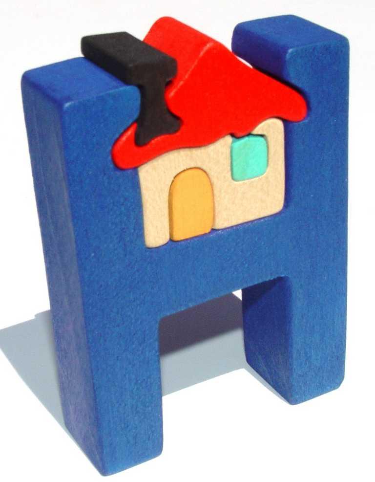 Dřevěné vkládací puzzle z masivu - Abeceda písmeno H domeček
