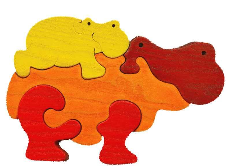 Fauna Dřevěné vkládací puzzle z masivu hroch oranžový