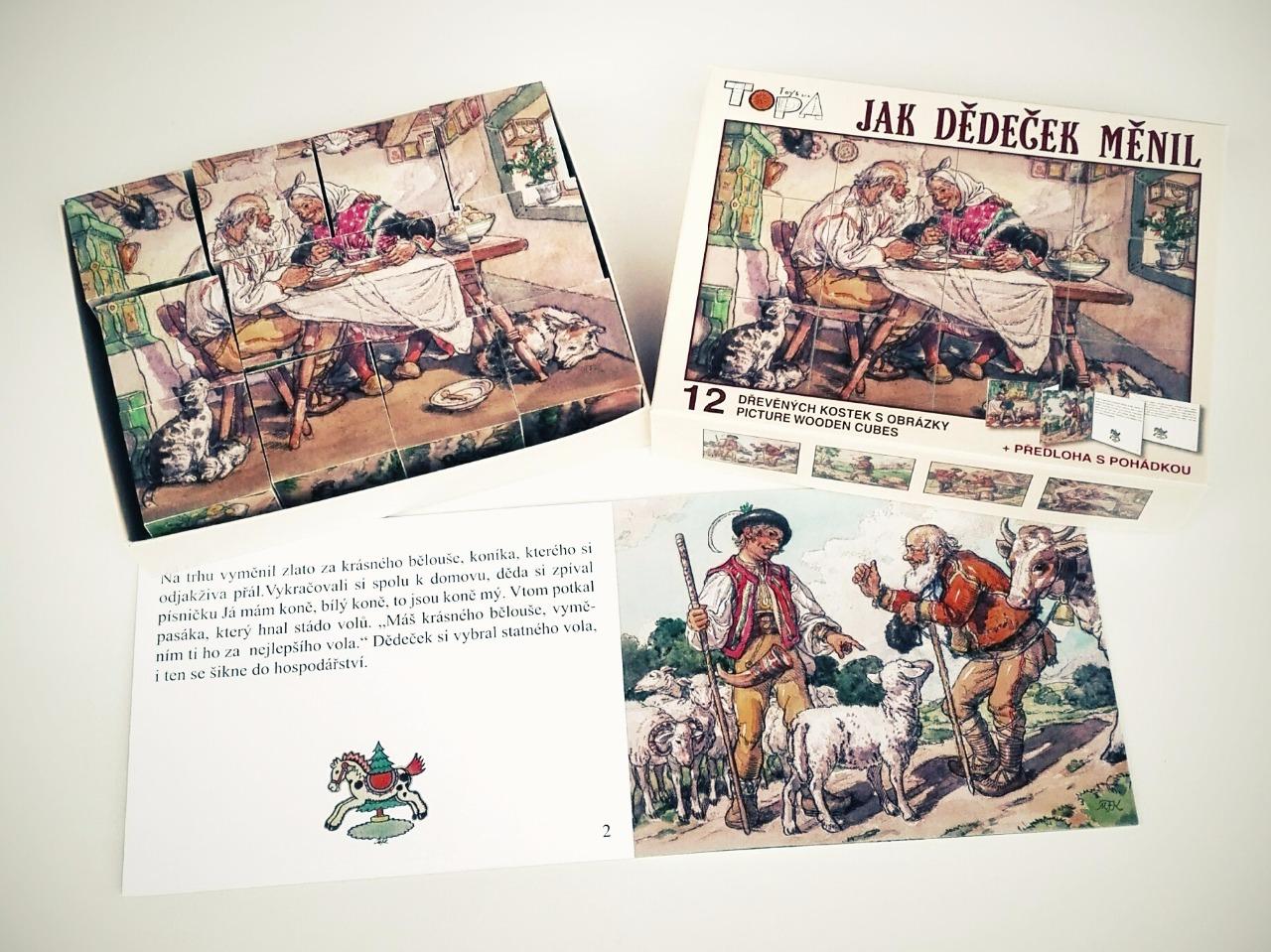 Dřevěné obrázkové kostky -Kubus malý - Jak dědeček měnil - 12 kostek + LEPORELO
