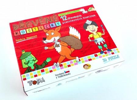 Dřevěné obrázkové kostky - Kubus malý - Písničkové kostičky + omalovánky a texty písniček