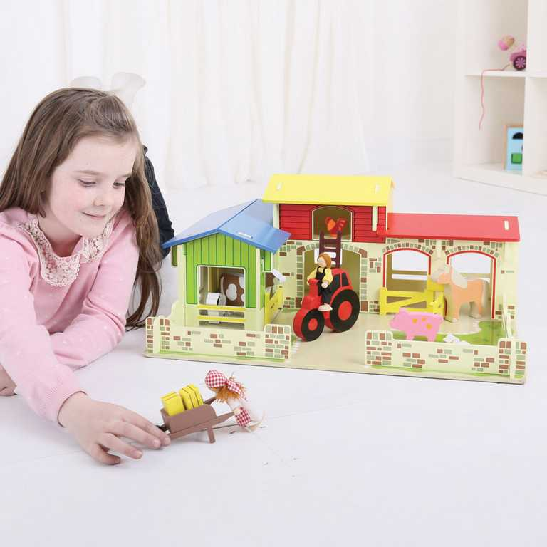 Bigjigs Toys - Dřevěná farma se zvířátky