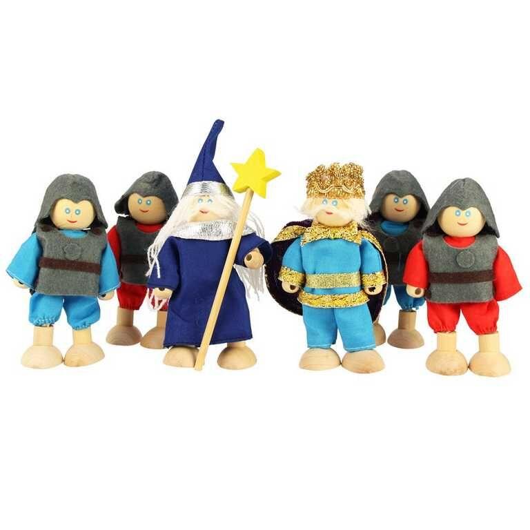 Bigjigs panenky - Set královských rytířů 6ks - poškozený obal