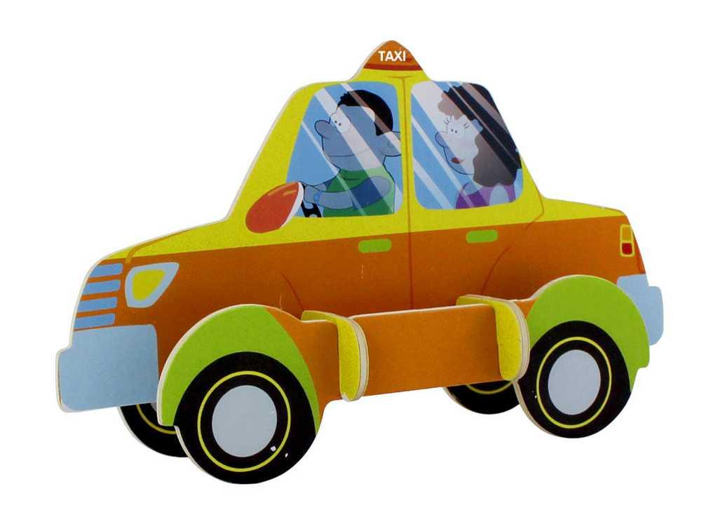 RoboTime  Dřevěné sřední 3D puzzle taxi