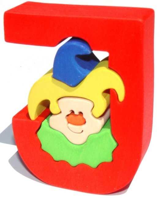 Dřevěné vkládací puzzle z masivu - Abeceda písmenko J joker